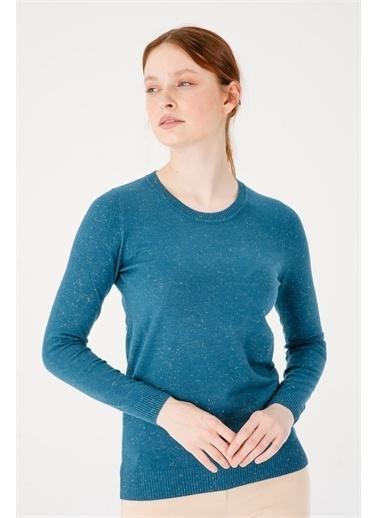 Desen Triko Kadın Sımlı Basıc Sıfır Yaka Bluz Sıyah Petrol